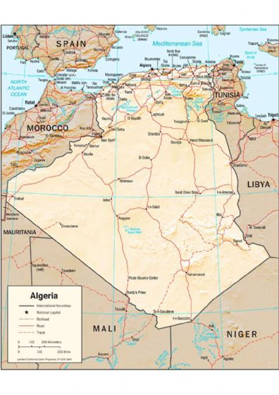 CIA Map of Algeria 2001 (Physiography) Print/Poster (5208)
